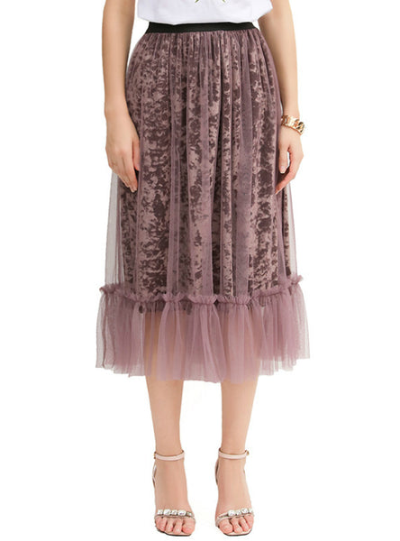 A Line High waist Gauze Skirt Half-length Dress