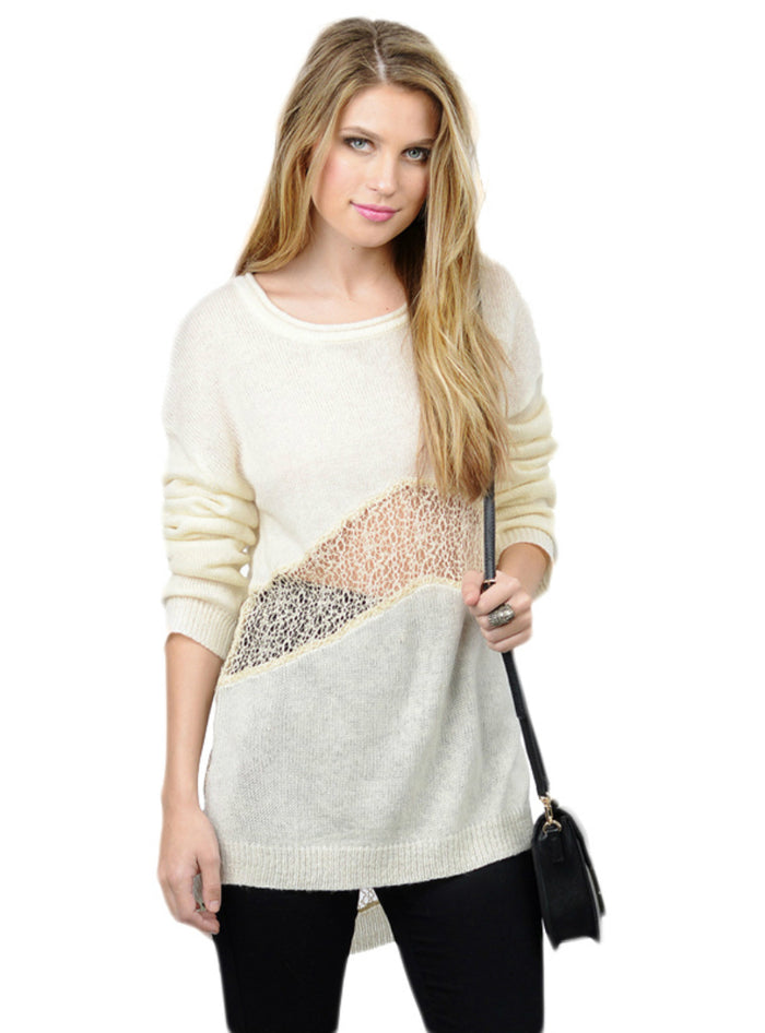 Lace Patchwork Hollow Out Women Sweater High-low