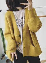 Women Cardigans Sweater V neck Solid Loose Knitwear