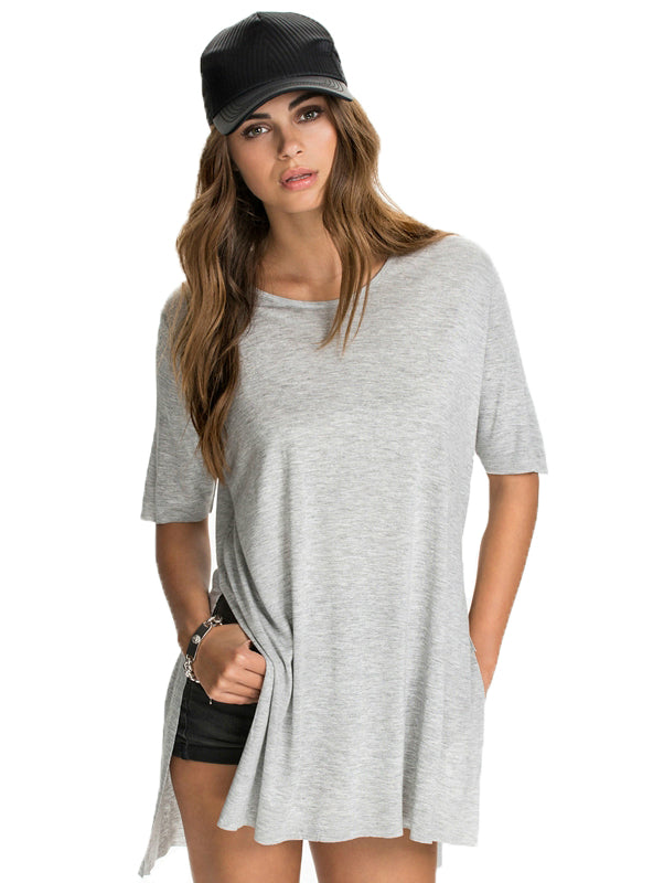 Solid Side Split Tops New Casual Loose Tees Steppe