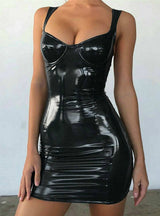 Sexy Backless Club Party Bodycon Faux Leather Short Dress