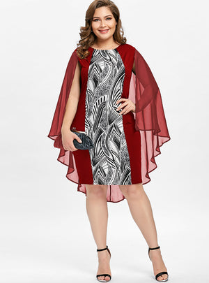 Print Cape Bobycon Dress Elegant Party Club Dresses