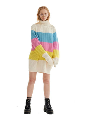 Sweater Rainbow Color Knitting Pull Warm Sweaters
