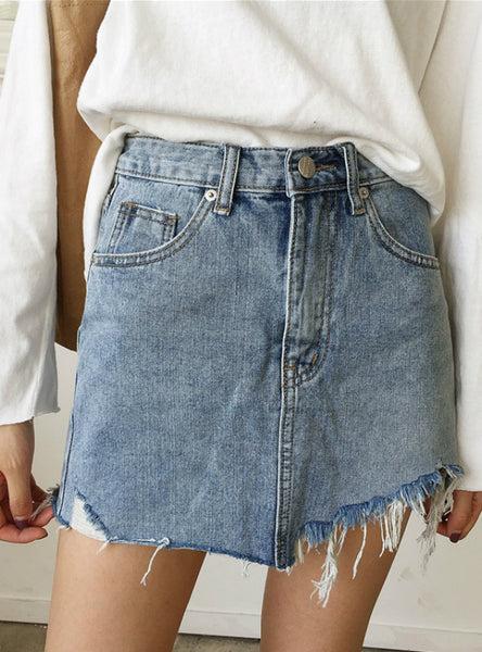 Skirt Women High Waist Irregular Edges Denim Skirts