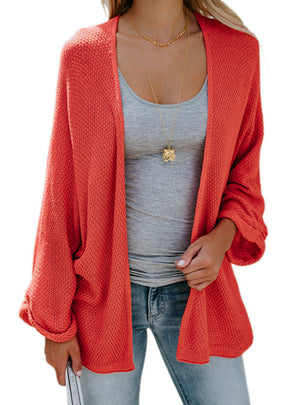Women Long Bat Sleeve Thin Knit Cardigan