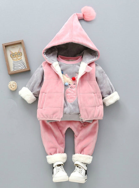 Autumn Warm Hooded 3PCS Vest+Long Sleeves+pants