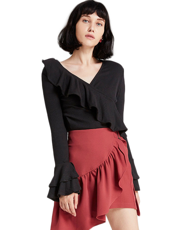 Pink/Black Asymmetric Ruffle Women Shirts