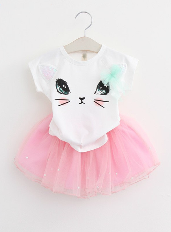 Girl Dress Cartoon Kitten Printed