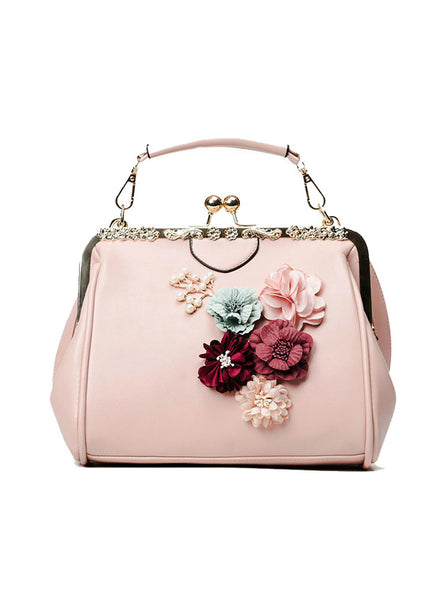 Flower Metal Frame Handbag Beaded Messenger Bag