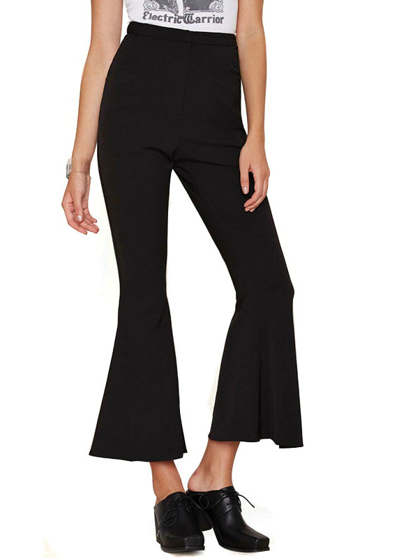 High Waist Pants Black Flare Women Capris leggings