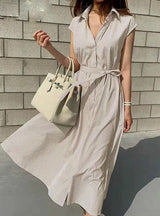 Casual Sleeveless Striped Oversize Lace Up Long Dress
