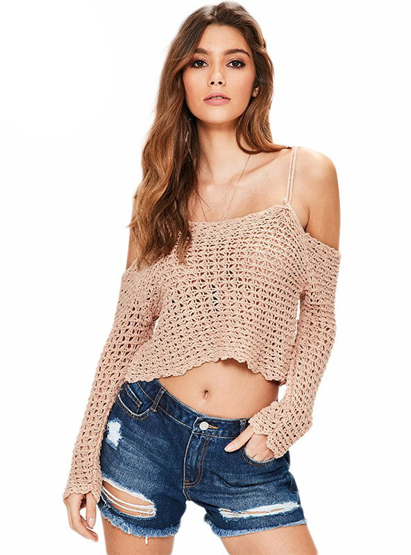 Sexy Women Sweater Spaghetti Strap Off Shoulder Backless