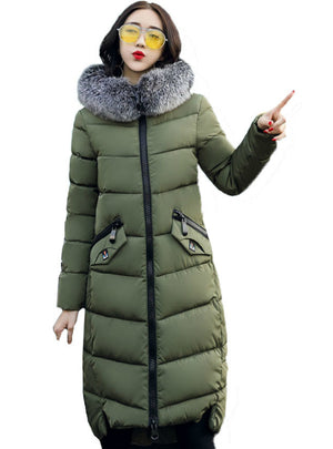 Hooded Coat Fur Collar Thicken Warm Long Jacket