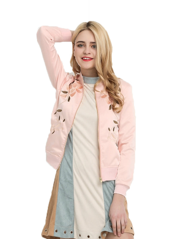 Pink Women Casual Floral Embroidered Female Coats
