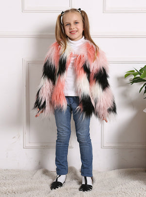 Children's Fur Long Sleeve Coat Imitation Fox Fur