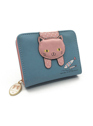 Women Cute Cat Wallet Small Zipper Girl