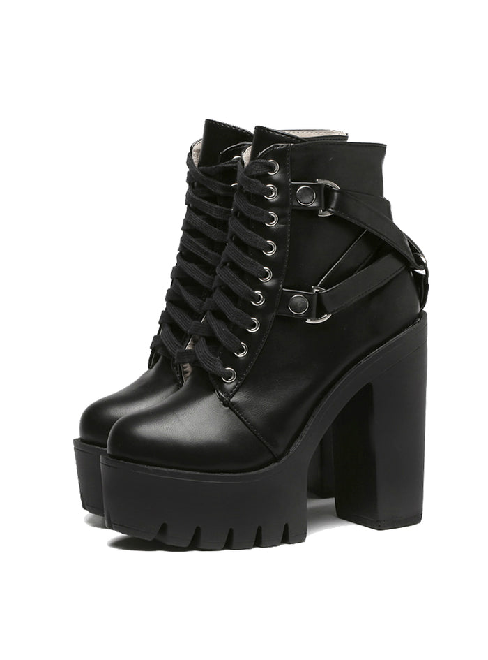 Black Martin Boots Women Lace-up Soft Leather