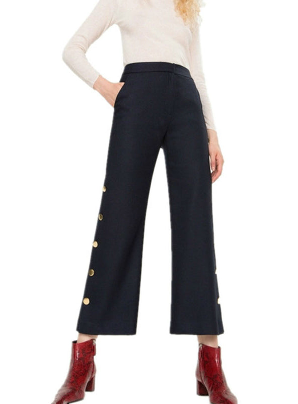 Crop Pants Buttons Decor Pants Workwear Trousers Navy
