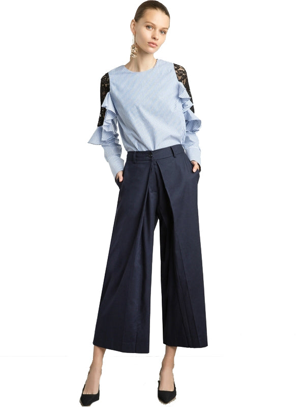 Casual Cropped Pants Fashion Pockets Long Trousers