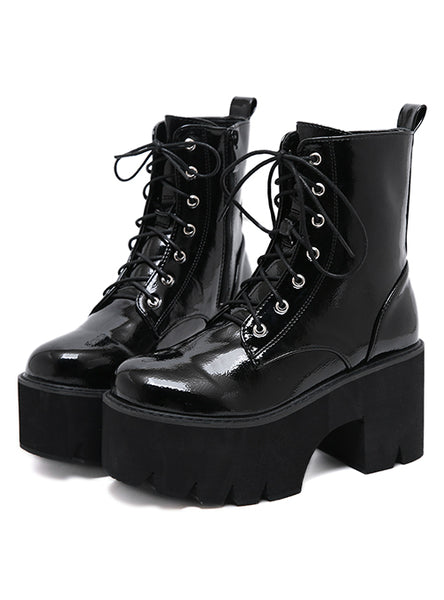 Ladies Chunky Wedge Platform Black Patent Leather Ankle Boots
