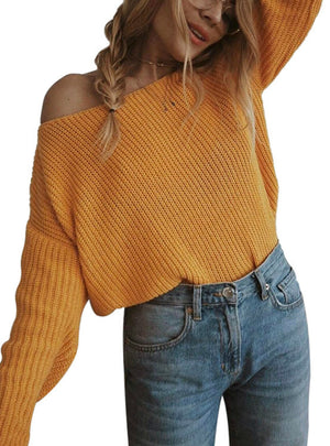A Long Sleeved Pullover Open Neck Shoulder