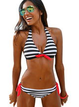 Women Swimsuit Swimwear Halter Top Plaid