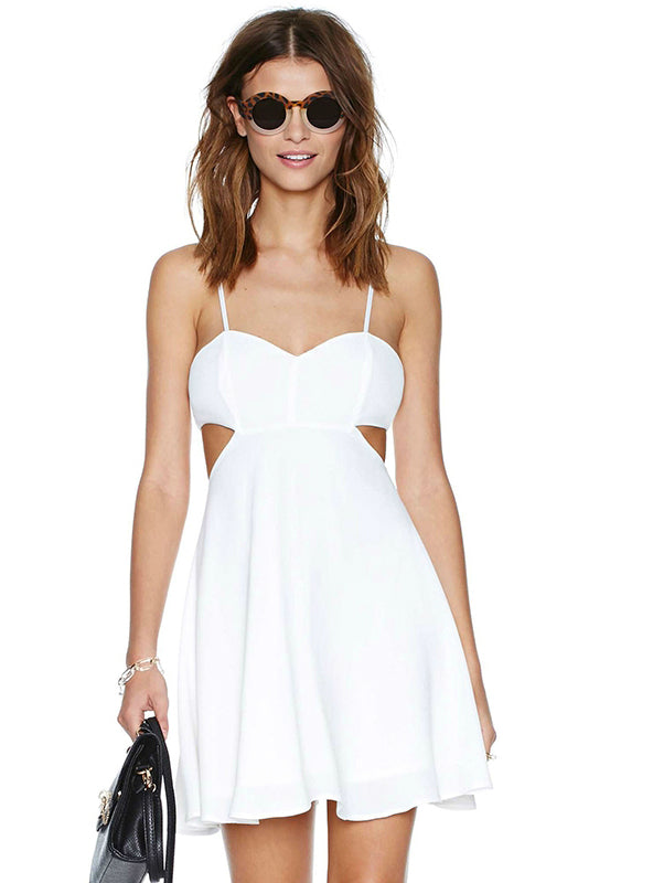White Off Shoulder Dress Casual Cut Out Backless