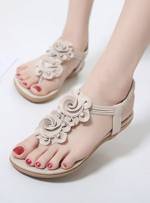 Flat Sandals Bohemian Flowers Toe Soft Comfortable