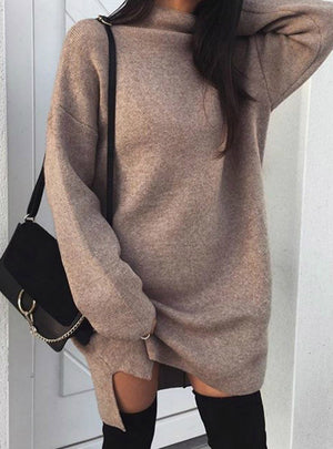 Women Turtleneck Warm Knitted Sweater Dress