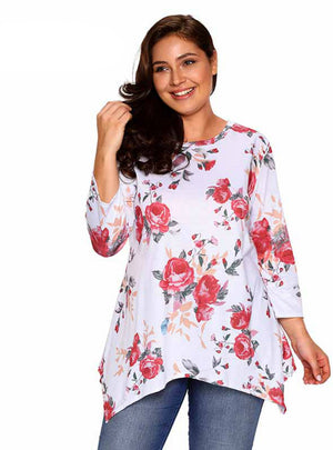 Floral Print Tops Long Sleeve Ladies T-Shirt