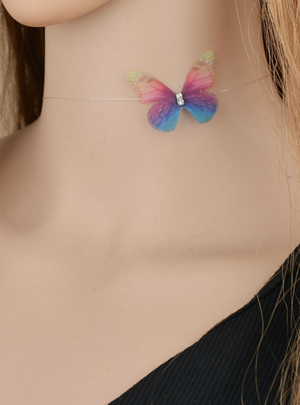 Colorful 3D Yarn Butterfly Chokers Invisible Fishline