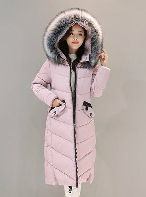 Down Jacket Hooded Cotton Long Fur Collar Slim