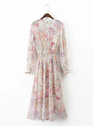 Long Sleeve Floral Dress Elastic Waist Casual Midi Dress