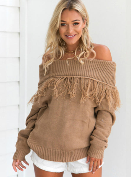 Contrast Stitching Long Sleeve Off Shoulder Sweater