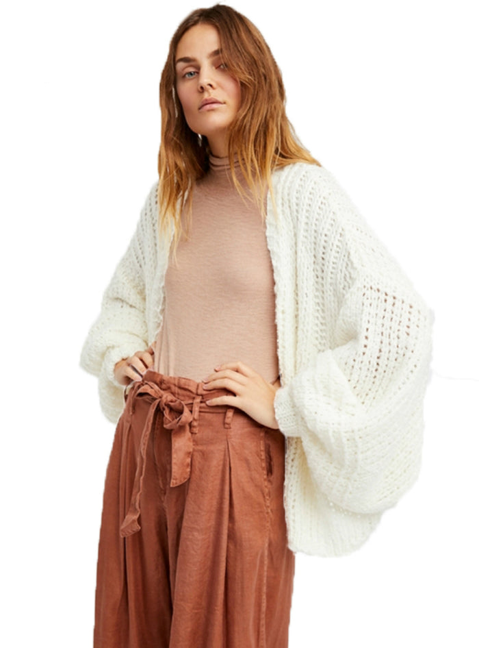 Women White Casual Cardigans Lantern Sleeve Knitted