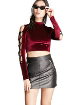 Lace Up Sleeve Sexy Crop Tops Hollow Out Slim T-shirts