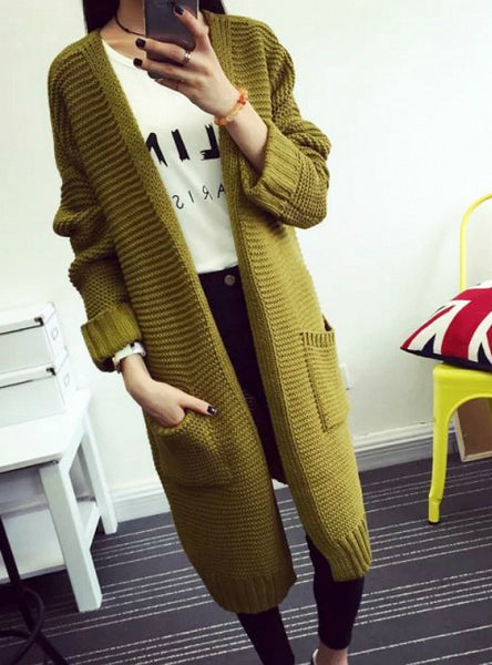 Long Sweater Cardigan Fashion Autumn Winter Long Sleeve