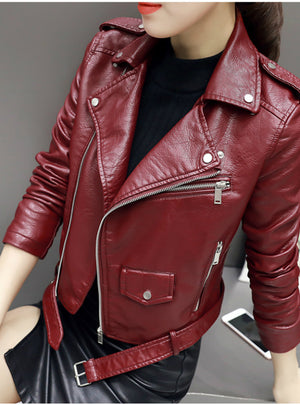 Soft Leather Jacket Zipper Motorcycle PU Leather Jacket