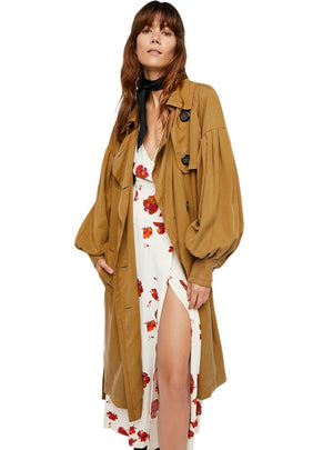 Khaki Trench Coats Lantern sleeve Belt Waist Buttons