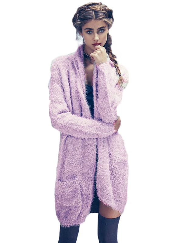 Purple Mohair Long line Pocket Sweaters Scarf Collar