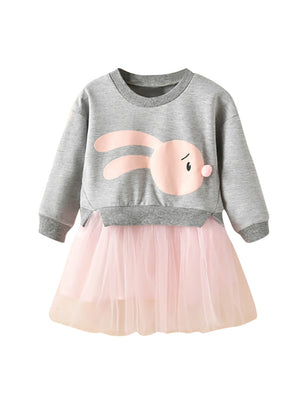 Baby Cartoon Bunny Princess Patchwork Sweatshirt Tulle Dress