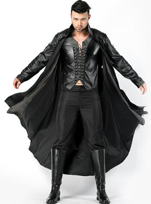 Halloween Men's Vampire Cospaly Leather Cape