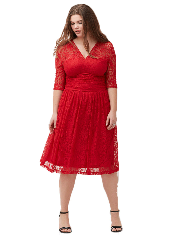 Cut Out Red Midi Dress Elegent and Plunge Neck