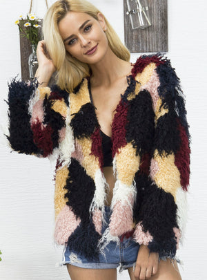 Personality Contrast Pattern Faux Fur Jacket
