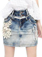 Lace Applique Whitewashed Effect Denim Pencil Skirt