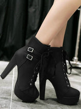 Ankle Boots High Heels Lace Up Leather
