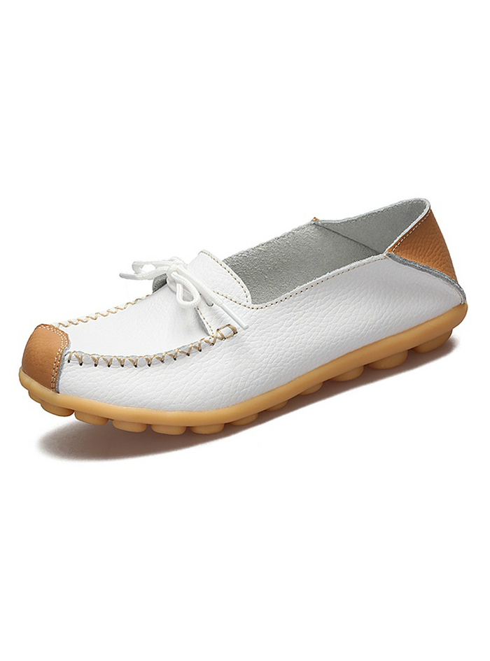 Genuine Leather Women Shoes Flats Loafers Slip