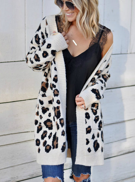 Women'S Long Leopard Cardigan Long Sleeve Sweaters