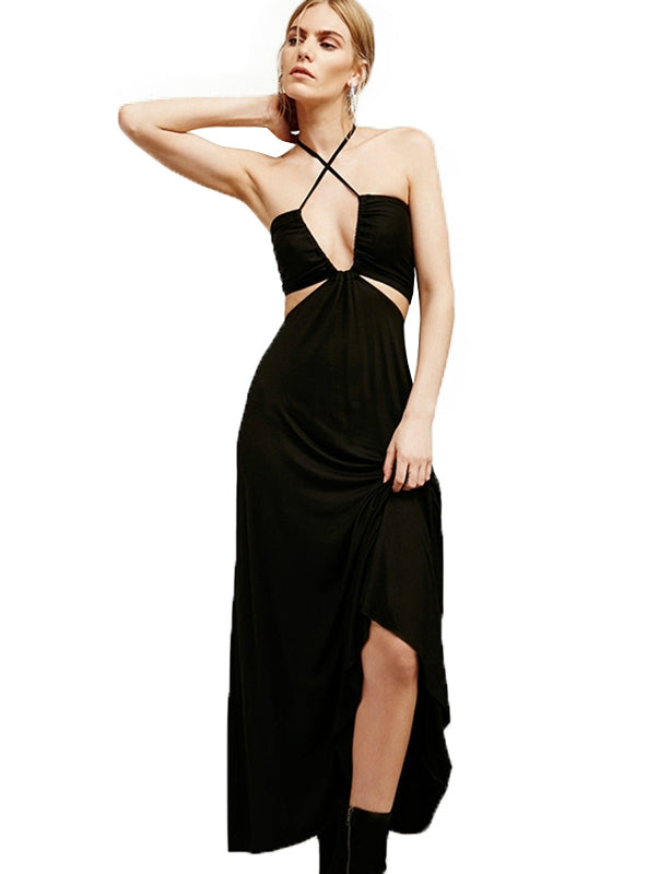 Hollow Out Off-shoulder Halter Brief Summer Dresses
