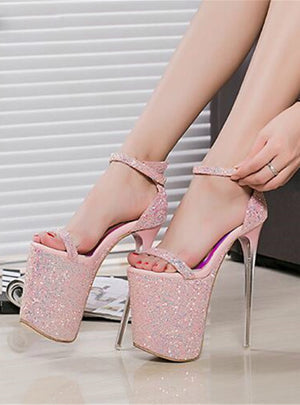 Ultra High Heel Sandals Sexy Stripper Shoes Party Pumps